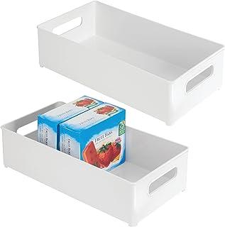 mDesign (lot de 2) caisse de rangement à poignées en plastique sans BPA – boite pour frigo pratique pour ranger les alimen...