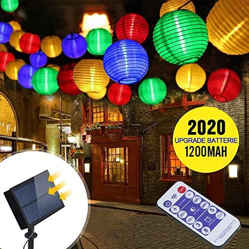 Solar Lichterkette Außen Lampions | infinitoo 6m 30er LED Solar Lichterkette Aussen | 5.5V Upgrade hohe Leistung Farbig Lichterkette Lampions Die Fernbedienung 2m Anschlusskabel