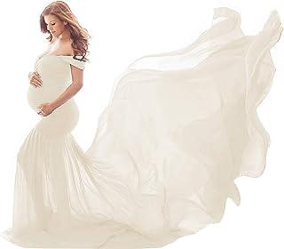 Vestido para Embarazadas de Maternidad Maxi Largo Sin Mangas Color Liso para Fotos