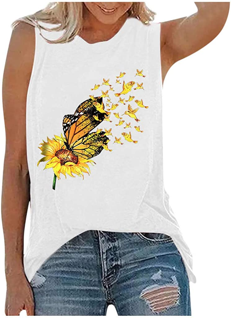 Summer Tops for Women,Women's Sunflower Cute Printed Tank Tops Colorful Sleeveless T-Shirt Funny Graphic Tee Tops