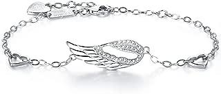 925 Sterling Silver Women Angel Wing Adjustable Chain Bracelet Diamond White Gold Plated Bracelet Women Gift for Women Girls Mother's Day
