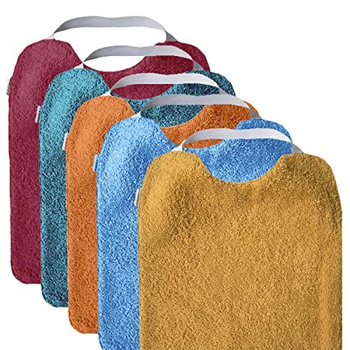 Mimuselina Pack 5 Baberos | Pack Bright Ideal para Guardería, Interior Impermeable, Goma en Cuello para Fomentar Autonomía e Independencia, de Rizo, 31 x 25 cm