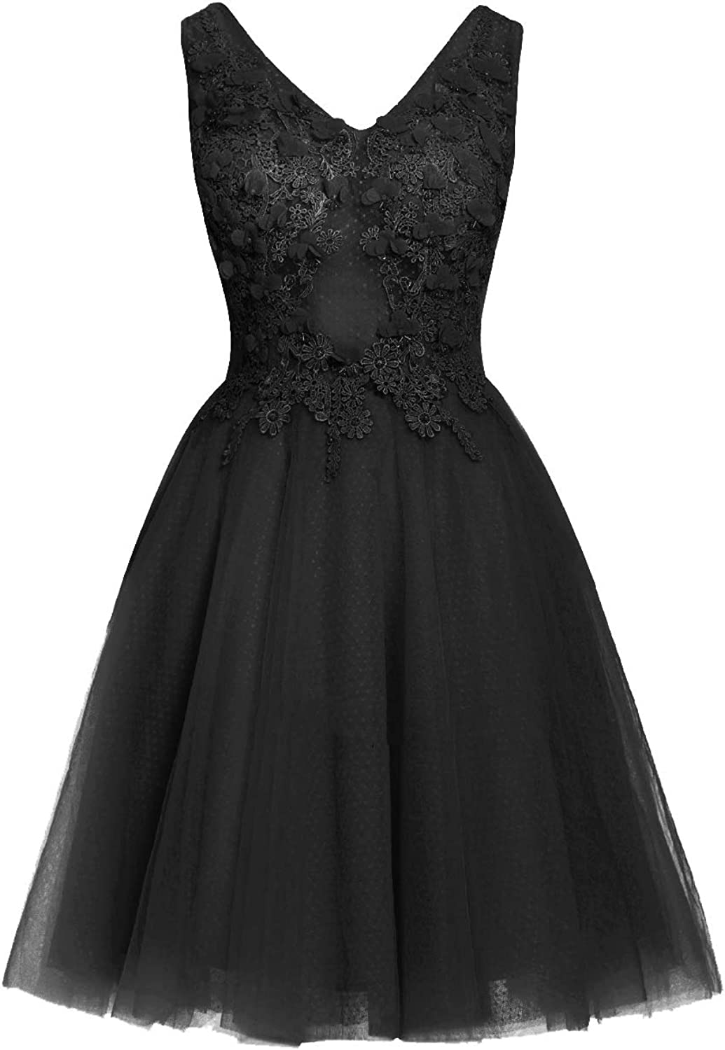Uther Short Homecoming Dresses Lace Appliques 2018 Prom Wedding Party Dress V Neck