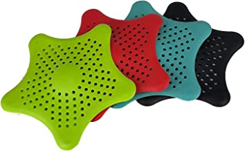 4 Pacakge 4-Color Starfish Bathroom Drain Strainer Hair Catcher Bathtub Shower Drain Cover Hair Trap Hair Catcher Bathtub ...