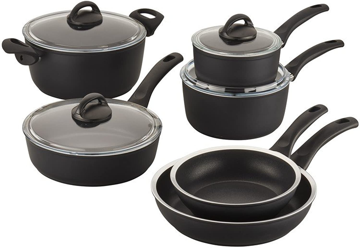Ballarini 75001-638 Como Forged Aluminum Nonstick Cookware Set, 10-piece, Black