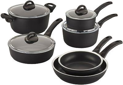 BALLARINI Como Forged Aluminum Nonstick Cookware Set, Black