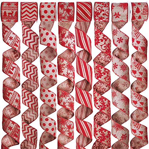 """8 Rolls 48 Yards Wired Burlap Christmas Ribbon Rustic Holiday Red Burlap Fabric Ribbon Large Burlap Christmas Bows Rustic Christmas Tree Bows Ribbon 2.5"""" Wide for Gifts Wrapping Wreath Tree Ornaments"""