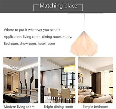 Wrought Iron Chandelier, Modern Acrylic Origami Chandelier for Living Room Dining Room Bedroom