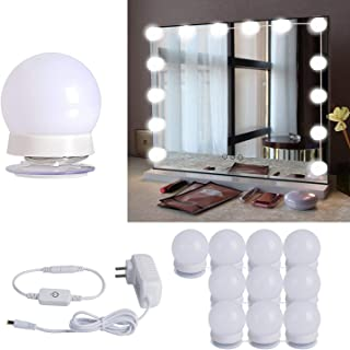 Hollywood Style LED Vanity Mirror Lights Kit with 10 Dimmable Light Bulbs For Makeup Dressing Table and Power Supply Plug in Lighting Fixture Strip, Vanity Mirror Light, White (No Mirror Included)