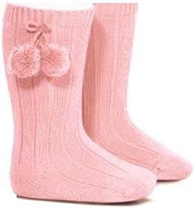 Baby BitesCalcetines acanalados rosas a la altura de la rodilla y con pompones para niñas rosa rosa Talla:6-12 meses