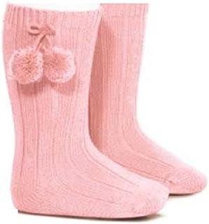 Calcetines acanalados rosas a la altura de la rodilla y con pompones para niñas rosa rosa Talla:6-12 meses