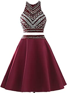 Meilishuo Two Pieces Beaded Sparkly Prom Ball Gown Short Mini Homecoming Dresses 2 Piece