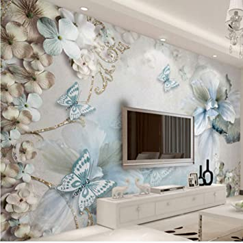 Amazon Com Hwhz Flower Butterfly Wall Painting Home Hotel Decor Wall Papers 3d Living Room Bedroom Wall Mural 150x120cm Furniture Decor