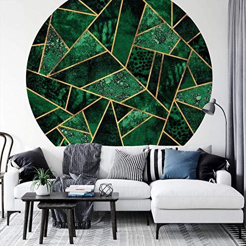 Fototapete Vliestapete Rund Fredriksson - Dunkelgrüner Smaragd moderne Illustration grün gold geometrisch abstrakt Formen Dreiecke inkl. Schablone Ø140 cm
