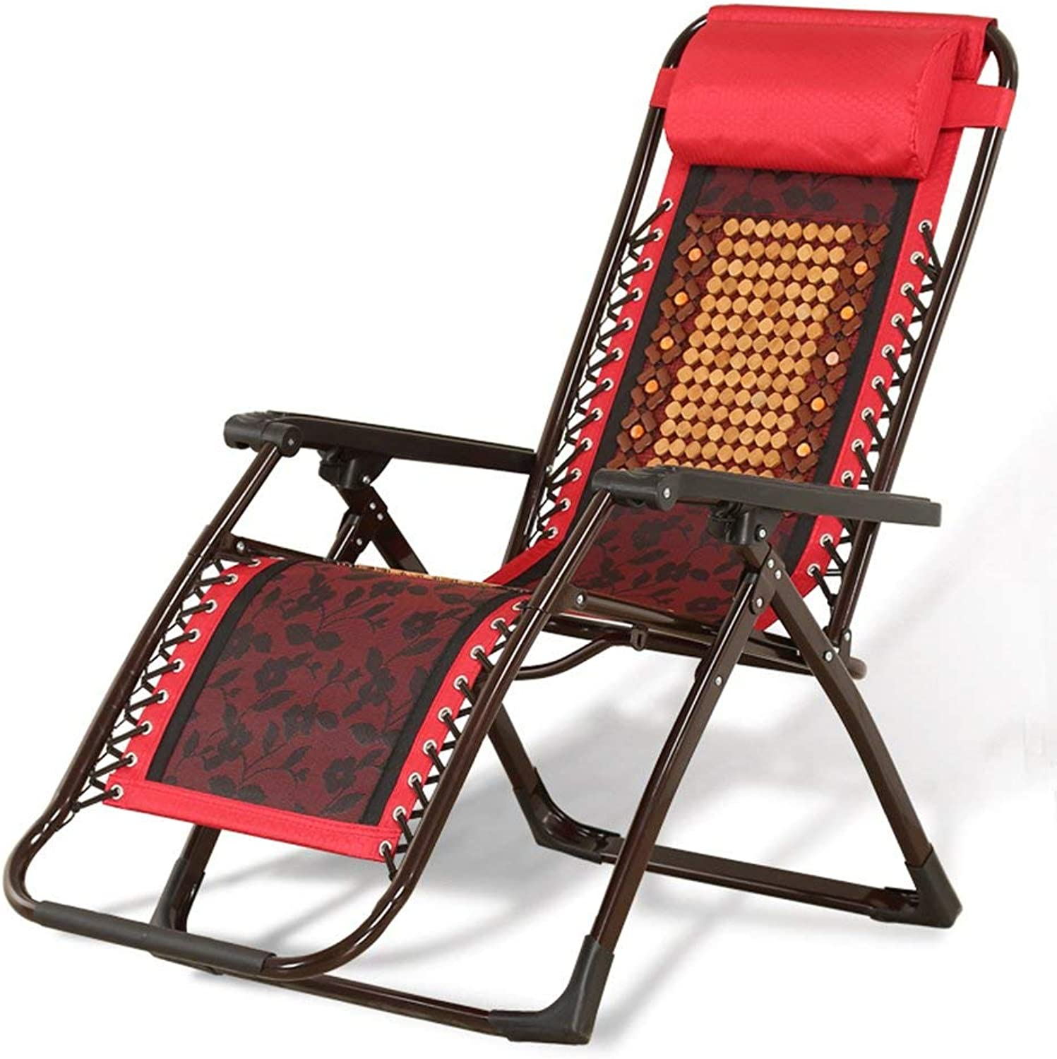 Balcony Casual Lounge Chairs Folding Chair Office Siesta Chair Armchair Sun Loungers Garden Chairs Summer Beach Chairs Removable Headrest (color   Red)