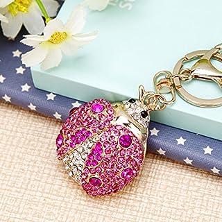 Cute Big Ladybug Keychain Sparkling Keyring Rhinestones Purse Pendant Handbag Charm (Pink)