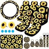 BQTQ 20 Pieces Sunflower Car Seat Cover Accessories Set with Sunflower Seat Covers Rear Bench Seat Covers Back Seat Cover Headrest Covers Car Steering Wheel Cover and Center Console Armrest Pad Cover