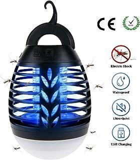 BACKTURE Lámpara Antimosquitos, IPX6 Impermeable 2 en 1 Linterna de Camping, Electrico Repelente Mosquito Insectos con 2200mAh Recargable USB y 3 Brillo de Luz para Camping, Jardin, La Pesca (S)