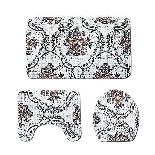Bradoner Alfombrillas de baño multifunción, patrones y cómodas alfombrillas absorbentes de poliéster, no se decoloran con asiento de inodoro de tres piezas, lavable a máquina