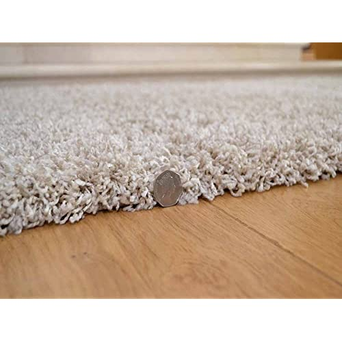Soft Touch Shaggy Suede Beige Thick Luxurious Soft 5cm Dense Pile Rug. Available in 7
