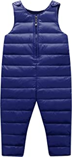 Unisex Baby Winter Down Overalls Zipper up Bib Pants Romper Warm Sleeveless Jumpsuit
