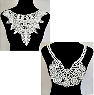 2 Pcs White Lace Collar Sexy Style Flower and Heart Venetian Lace Decoration Decoration Lace Fabric Sewing Accessories DIY (Color 2)
