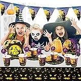 Yisscen Partygeschirr Set, 52 Stück Kindergeburtstag Tischdeko Halloween Deko Set enthält Papptelle Pappbecher Strohhalme Banner Servietten Tischdecke Halloween Tableware(Bietet Platz für 10 Gäste) - 7