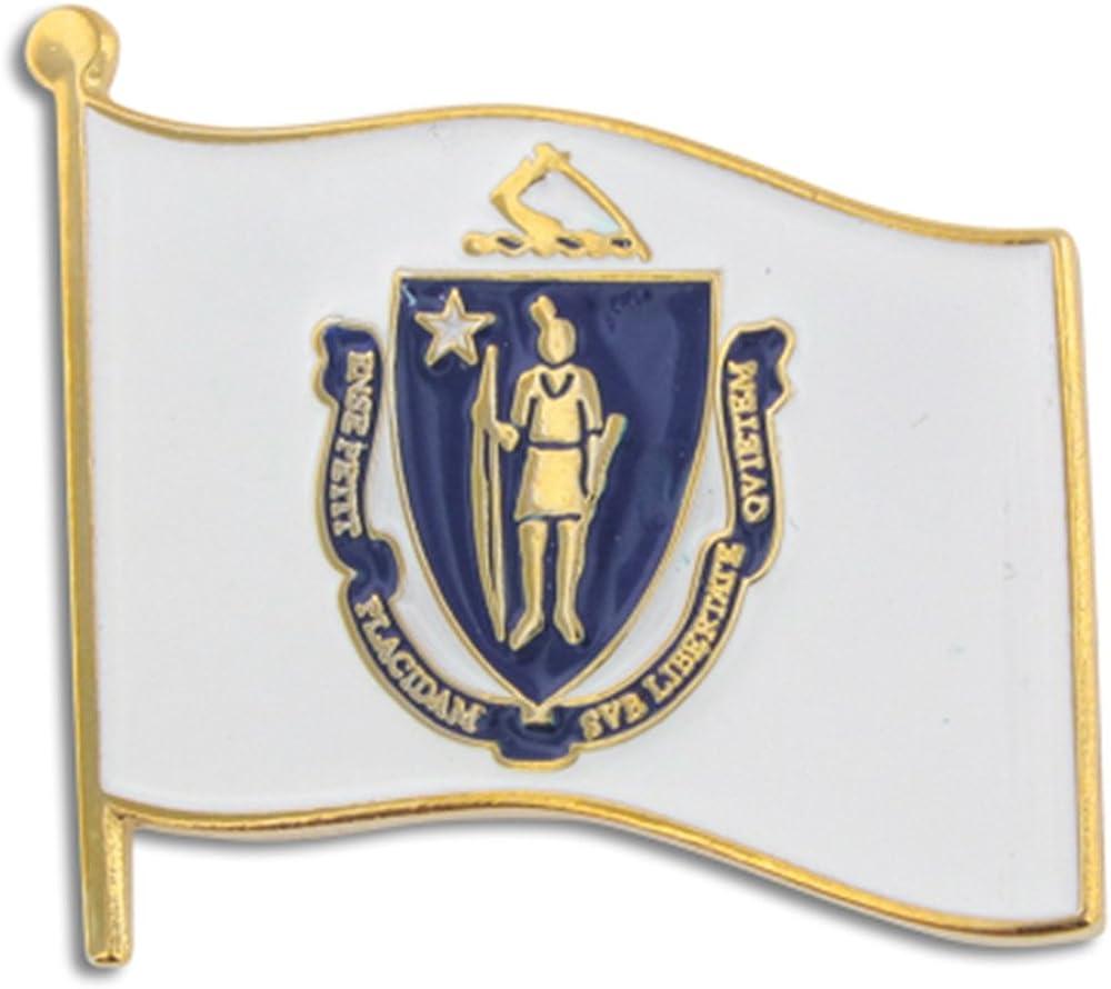 PinMart Massachusetts US State Flag MA Enamel Lapel Pin