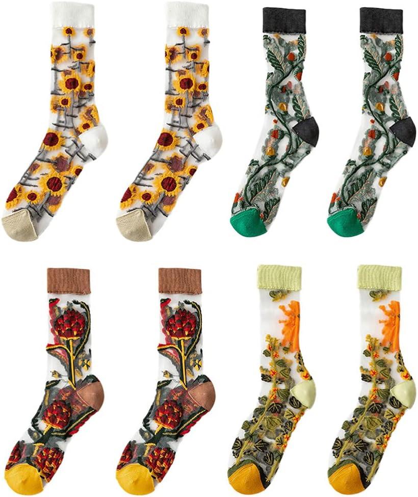 BESTOYARD 4 Pairs Flower Mesh Lace Stocking Socks Shoe Liner Breathable Women Mid Calf Socks Summer Thin Floral Stocking