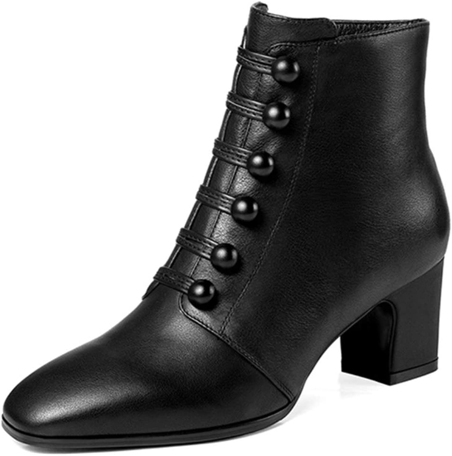 Shiney Women's New Leather Plus Velvet Booties Side Zipper Chunky Heel Comfortable Bare Boots 2018 Autumn and Winter