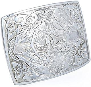 Polished Pewter Celtic Serpent Kilt Belt Buckle - Made In Scotland