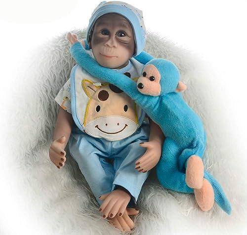 Minsong 46cm Affe Puppe Mit Kleidung, So Wirklich Echte   Baumwolle Weiß Vinyl Silikon Baby Affe Puppe (himmelblaue kleidung)