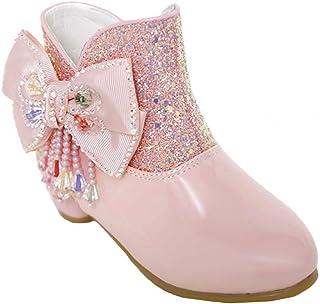 LOBTY Filles Princesse Chaussures De Neige Bottes Enfants Bottes D'hiver À Paillettes Bottes À Talons Hauts Bottes En Well...