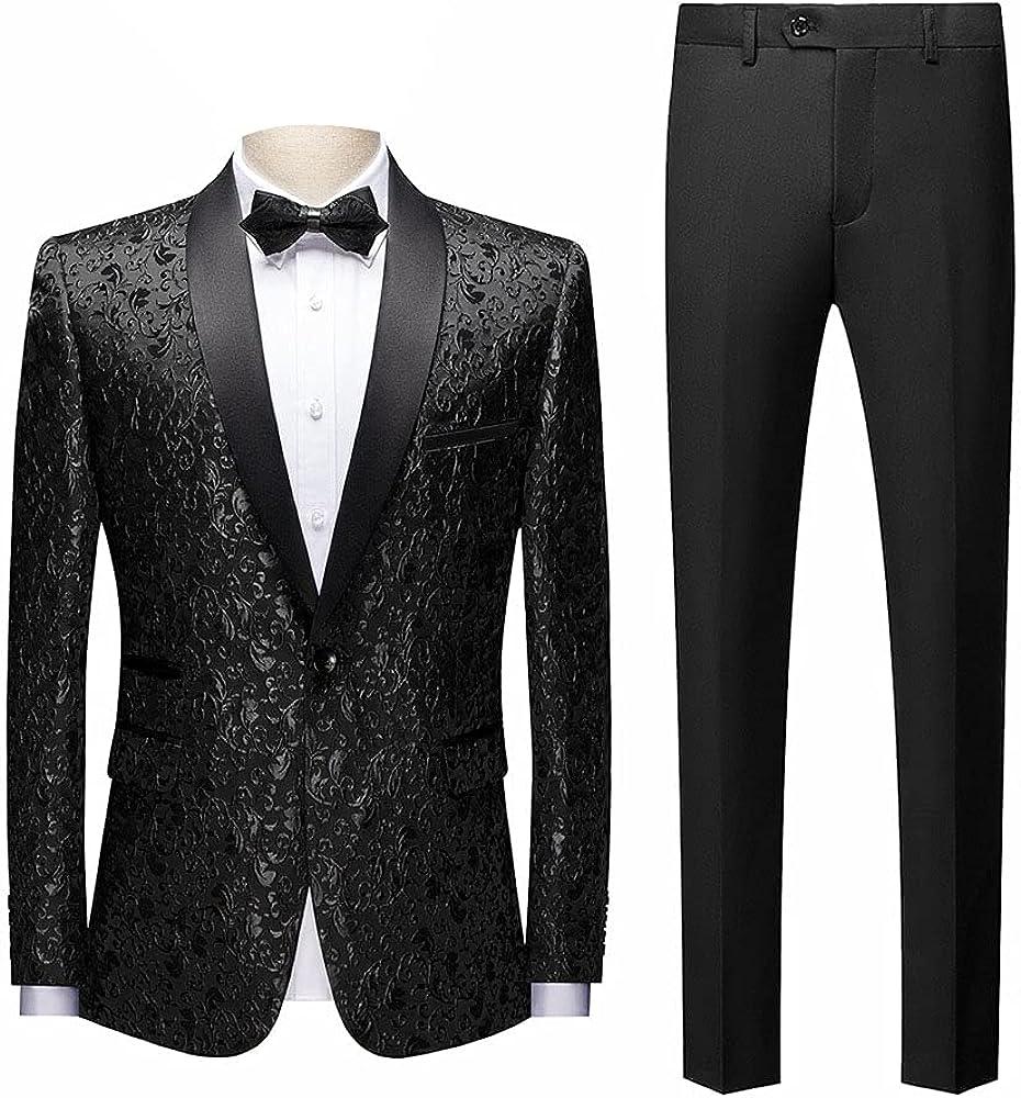 Men's 2 Pieces Jacquard Slim Fit Shawl Lapel Tuxedo Wedding Suit Classic Fit Blazer Pants(Suit Jacket + Pants)