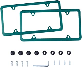 LivTee 4 Holes Stainless Steel License Plate Frames, 2 PCS Car Licence Plate Covers Slim Design with Bolts Washer Caps for US Vehicles, Green