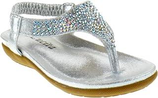 9f31cde08964df Lucita Crab Crab-1809Km Little Girls Gladiator Rhinestone Comfort Flat  Sandals