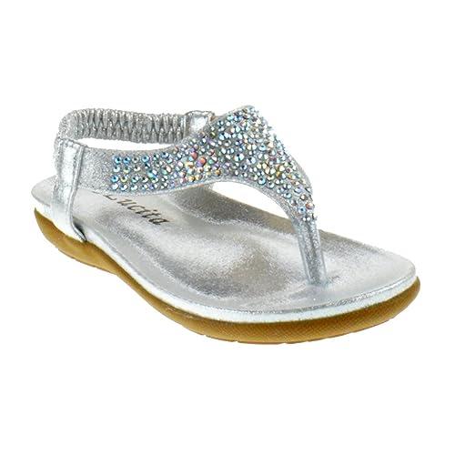 Lucita Crab Crab-1748Km Little Girls Gladiator Rhinestone Comfort Flat  Sandals