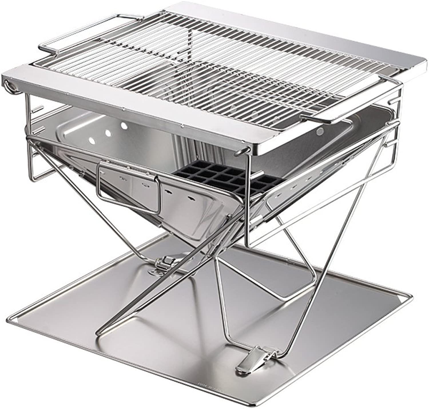 Portable Campfire Grill StandPortable Stainless Steel Charcoal Grill with Grill Cookouts BBQ for Camping Hiking,(40.3  40.3  38 cm)