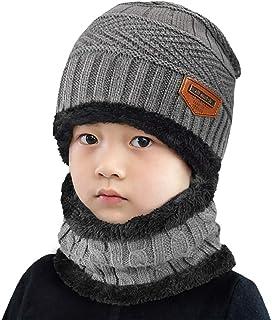 Conjunto de Bufanda y Gorro de Punto para niños Forro Polar de Lana Beanie Hat Sombrero Cuello Caliente