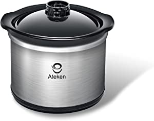 Ateken Mini Slow Cooker, Small Crock Food Warmer For Entrees, Sauces, Strews & Dips, 20 OZ (0.65qt) Capacity,Fondue for cheese & chocolate