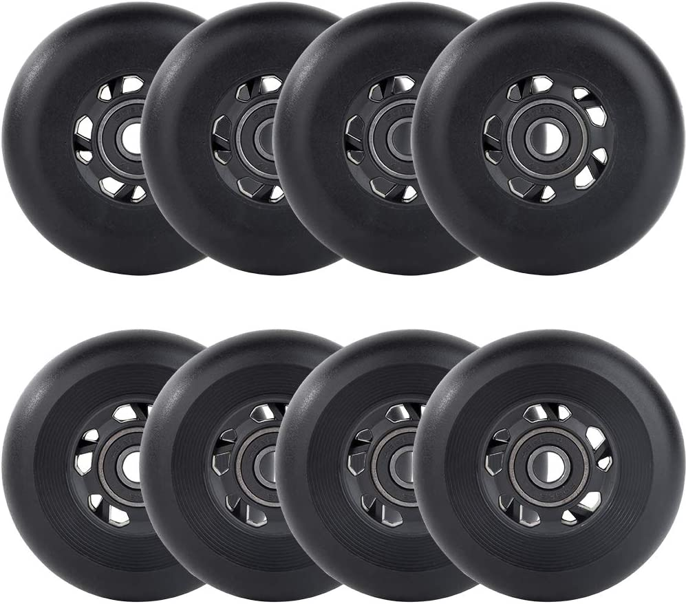 AOWESM Inline Skate Wheels 85A Gripper Asphalt Outdoor Inline Roller Hockey Replacement Wheels with Bearings ABEC-9 8-Pack