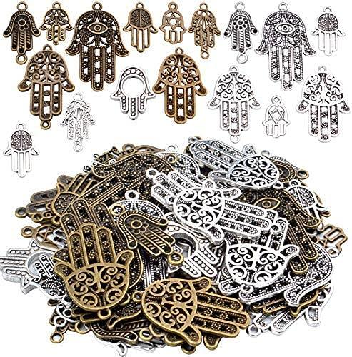 Aylifu Hamsa Hand Charm Anhänger, 120g (ca. 52 STK) Hamsa Hand der Fatima Anhänger Metall Schmuckverbinder Charms für Halsketten Armband basteln - 17 Stile