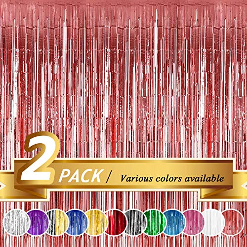 BTSD-home Rose Gold Foil Fringe Curtain, Metallic Photo Booth Backdrop Tinsel Door Curtains for Wedding Birthday Bridal Shower Baby Shower Bachelorette Christmas Party Decorations(2 Pack, 6ft x 8ft)