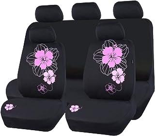 Pretty Flower Cloth Universal Sitzbezüge, passend für Geländewagen, Limousinen, Vans, Trucks (Rosa)