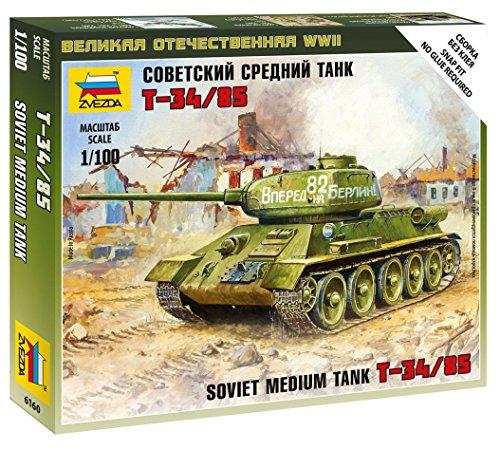 ズベズダ 1/100 ソビエト 中戦車 T-34/85 プラモデル ZV6160