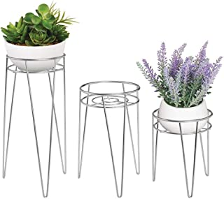 mDesign Midcentury Modern Flower, Plant, and Succulent Stand Minimalist Planter - Metal, Indoor, Outdoor Design Hairpin Legs - Sturdy - Set of 3 - Chrome