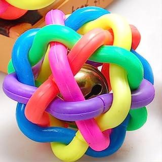 波波 塑料编织七彩球铃铛 发声狗玩具 全犬适合宠物玩具 磨牙安全无毒 七彩 小号