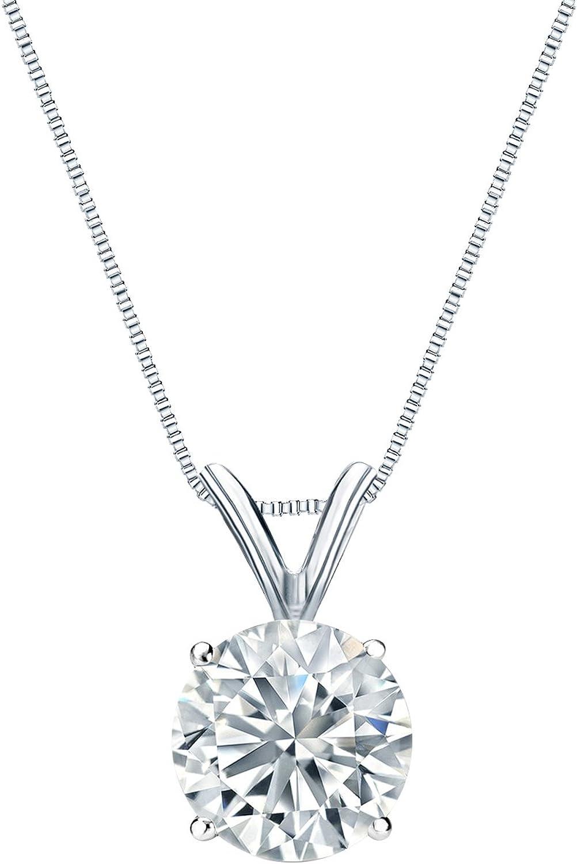 Diamond Wish 18k White Gold Round Solitaire Pendant Super intense Free shipping SALE Neck