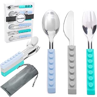 Stainless Steel Kids and Toddler Utensil Set | UpwardBaby Original Interlocking 6 Piece Set | Quick Self Feeding Silverware Flatware with Bag Included for School Lunchbox | See Video Demonstration