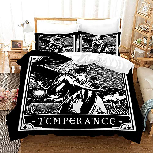 Duvet Cover Single Bed 135 x 200 cm Bedding set by Microfiber Tarot with 2 Pillowcases 50 x 75 cm with Zipper Printing Duvet Cover set